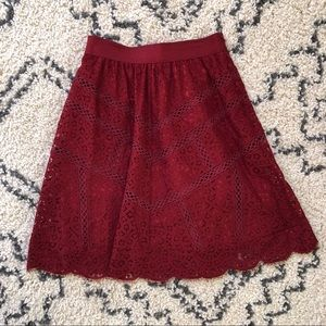 Red Lace Skirt Ann Taylor